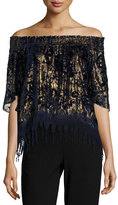 Elie Tahari Calliope Metallic Off-the-Shoulder Blouse, Blue/Gold Multi