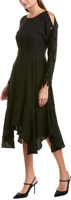 BCBGMAXAZRIA Tie-Sleeve Midi Dress