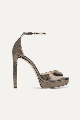 Jimmy Choo Pattie 130 Metallic Lizard-effect Leather Platform Sandals - Gunmetal