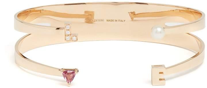 Delfina Delettrez Diamond, rhodolite, pearl & pink-gold cuff