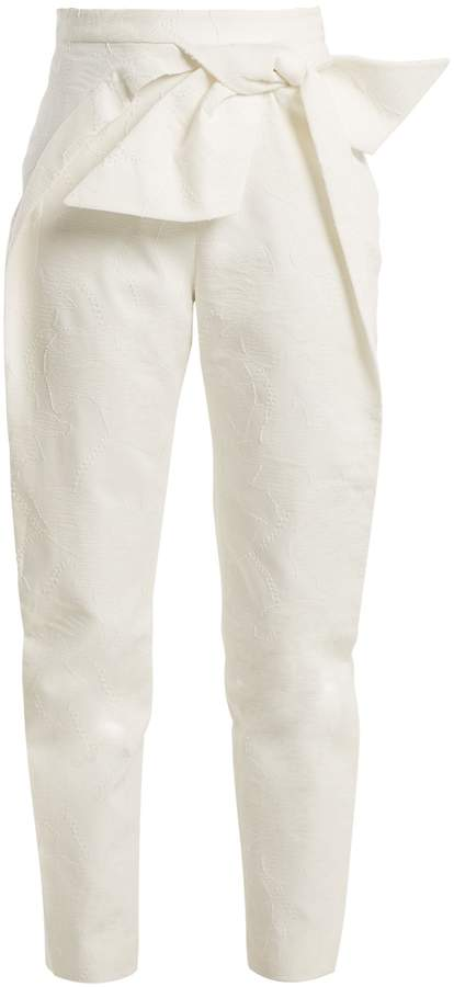 DELPOZO Bow-detail high-rise tapered-leg cotton trousers