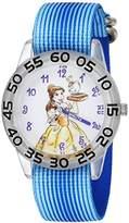 Disney Girl's 'Princess Belle' Quartz Plastic and Nylon Casual Watch, Color:Blue (Model: WDS000220)