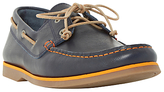 Bertie Battlefield Leather Lace-up Boat Shoes, Navy