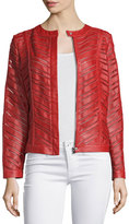 Bagatelle Striped Leather Jacket, Red