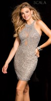 Scala Illusion Sequin Beaded Form Fitting Cocktail Dress