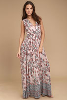 LuLu*s Wings of Fancy Blush Pink Floral Print Maxi Dress