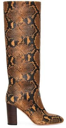 Loeffler Randall Snake-Embossed Leather Knee-High Boots