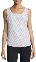 CNC Costume National Sleeveless Scoop-Neck Plisse Top, White