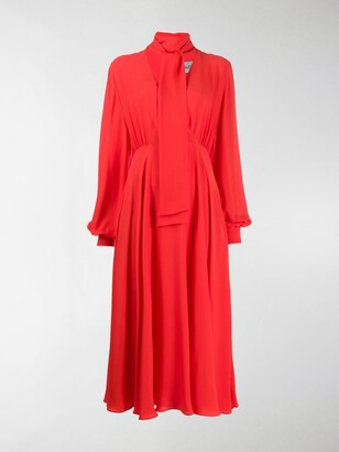 Valentino Pussy-Bow Long-Sleeve Dress