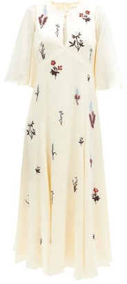 Erdem Alcie Beaded And Embroidered Silk-satin Dress - Ivory Multi