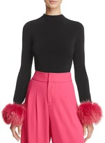 Alice + Olivia Haylen Fur-Cuff Mock Neck Top