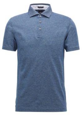 Slim-fit polo shirt in Italian cotton jacquard