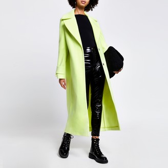 River Island Womens Green cuff detail longline coat