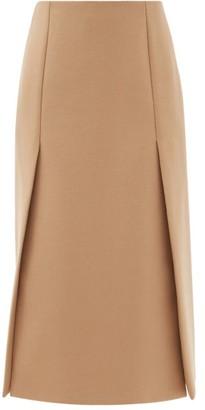 Prada High-rise Wool-twill Midi Skirt - Camel