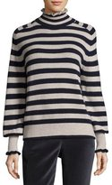 Rebecca Taylor Striped Turtleneck Wool-Blend Pullover Sweater