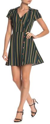 KENEDIK Striped Button Front Surplice Skater Dress