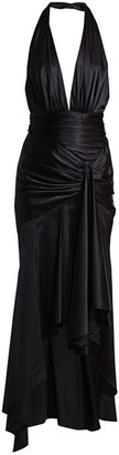 Alexandre Vauthier Satin High-Low Plunging Halter Gown