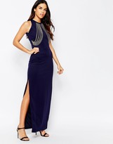 Rare Chain Front Side Split Maxi Dress