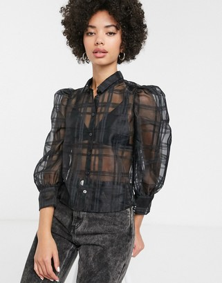 Monki puff sleeve check organza blouse in black