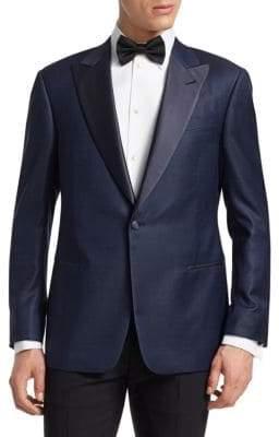 Giorgio Armani Navy Chevron Dinner Jacket
