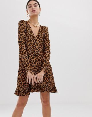 Asos Design DESIGN leopard print button through mini dress-Multi