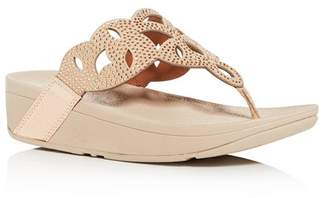 FitFlop Women's Elora Embellished Wedge Platform Thong Sandals