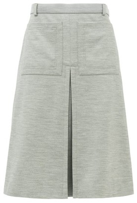 Burberry Inverted Box-pleat Wool-blend Jersey Skirt - Womens - Light Grey