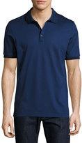 Salvatore Ferragamo Cotton Piqué; 3-Button Polo Shirt with Gancini Detail on Collar, Ultra Blue