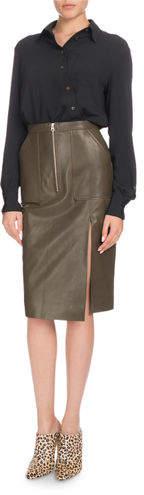 Altuzarra Garcia Ruched Long-Sleeve Asymmetric Button-Front Tunic