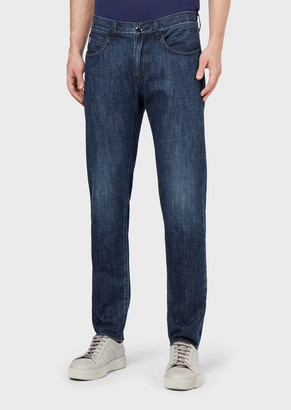 Giorgio Armani Tapered, Slim-Fit Jeans In Rinsed Denim
