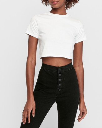 Express Hanes X Karla Cropped Crew Neck T-Shirt
