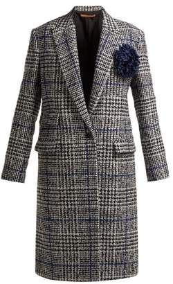 Summa - Single-breasted Prince Of Wales-checked Coat - Womens - Black White