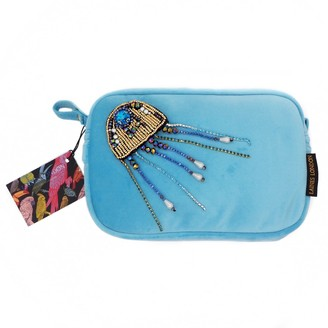 Laines London Turquoise Velvet Bag With Crystal Jellyfish Brooch