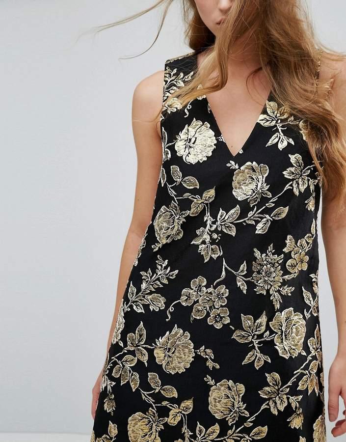 Missguided Floral Jacquard Shift Mini Dress