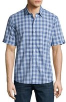 Zachary Prell Hwang Plaid Short-Sleeve Shirt, Light Blue