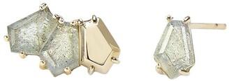BONDEYE JEWELRY 14kt yellow gold Selene labradorite stud earrings