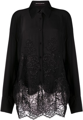 Ermanno Scervino Lace-Panel Oversize Shirt