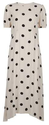 Dorothy Perkins Womens White Spot Print Puff Sleeve Tea Midi Dress