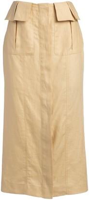 Matthew Bruch Cargo Linen Midi Skirt
