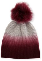 Bergdorf Goodman Ribbed Dip-Dyed Cashmere Beanie Hat, Burgundy
