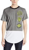 Southpole Men's Marled Scallop T-Shirt with Solid Back and Accent Prints
