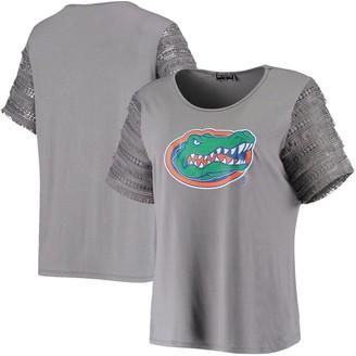 Women's Gray Florida Gators Fringe Benefits Bell Sleeve T-Shirt