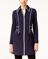 INC International Concepts Faux-Leather-Trim Peacoat, Only at Macy's