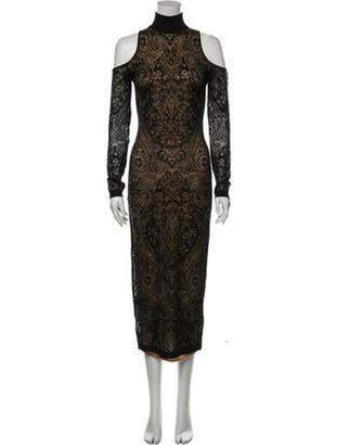 Balmain Lace Pattern Long Dress Black