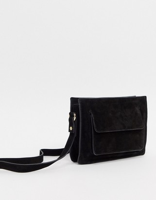 Urban Code Urbancode real suede boxy cross body bag-Black