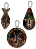 Wood ornaments (Set of 3), 'Three Kings'