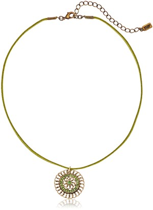 "1928 Jewelry Green Velvet Choker with Gold-Tone Pendant Necklace 16"" + 4"" Extender"