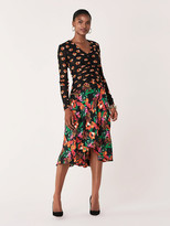 Diane von Furstenberg Linia Mesh & Silk Crepe de Chine Midi Dress