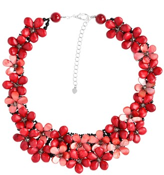 Aeravida Handmade Love Red Daisy Floral Cluster Coral Statement Necklace