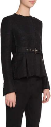 Proenza Schouler Long-Sleeve Crewneck Belted Jacket